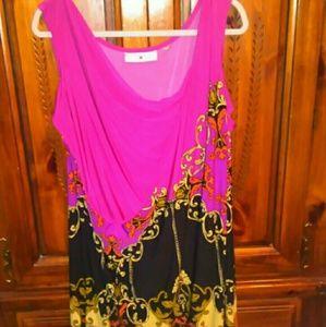 Avenue Midi Length Pink Patterned Dress